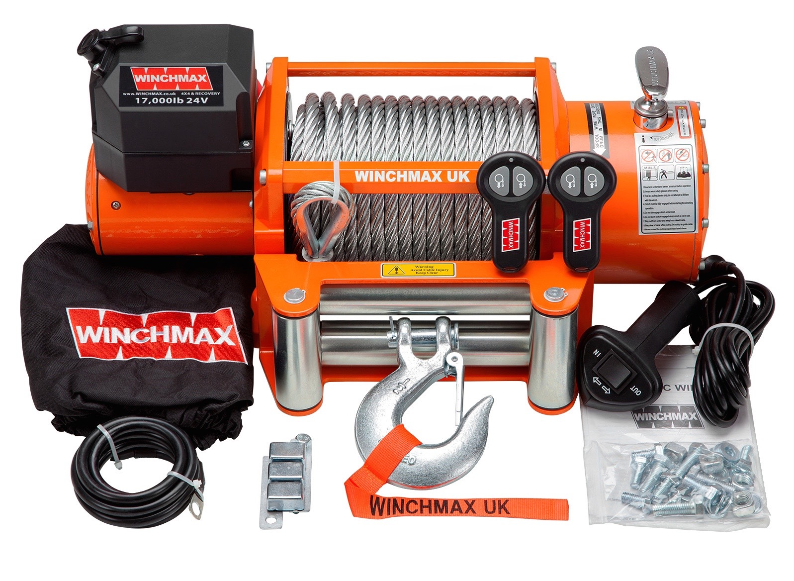 WINCHMAX 17000LB 12V ELECTRIC STEEL CABLE WINCH WITH WIRELESS REMOTES