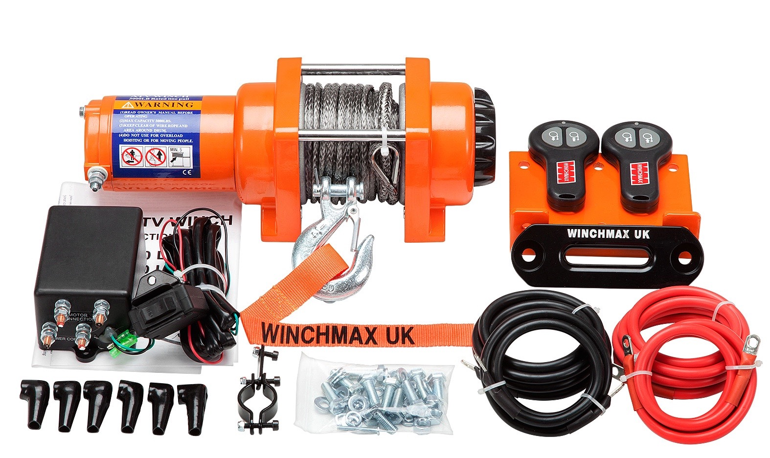 WINCHMAX 12V ELECTRIC ATV BOAT TRAILER WINCH 3000 lb  SYNTHETIC ROPE MODEL WITH WIRELESS REMOTES